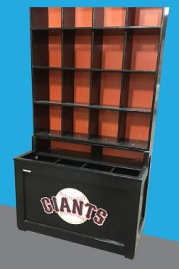 Baseball Helmet and Bat Rack