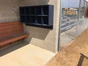 softball dugout storage helmet bat holder