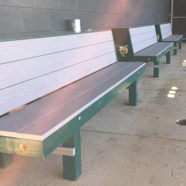 baseball bench, softball bench, Slate Grey Azek Decking